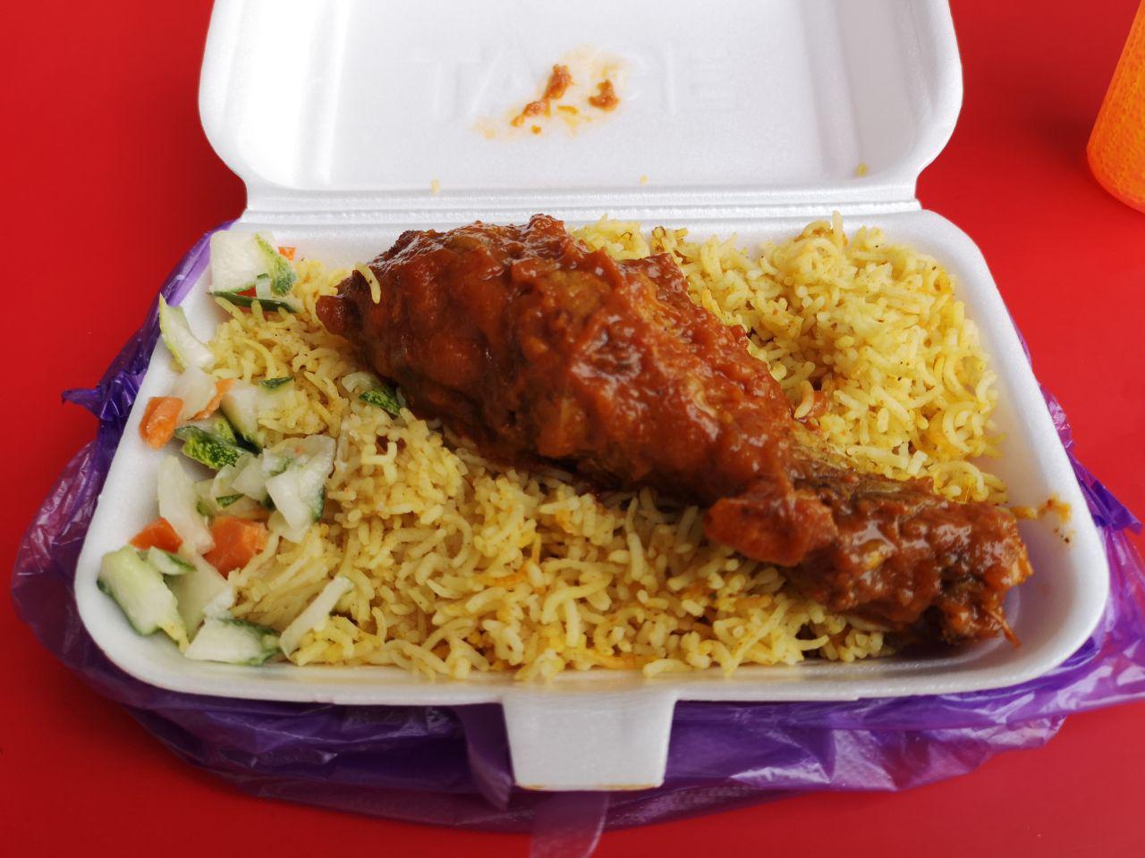 Biryani, achar and ayam masak merah.