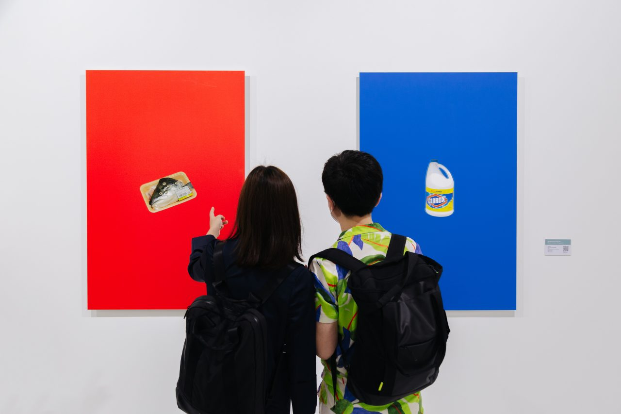 """From left to right: Hu Qiren, """"#4, A Grocer's Essentials"""", """"#5, A Grocer's Essentials"""", 2020, Archival pigment print on aluminum composite panel, Edition 1 of 3, 118.9 x 78.9 cm. Presented by RIchard Koh Fine Art. Photo by Toni Cuhadi, courtesy of S.E.A. Focus, Singapore"""