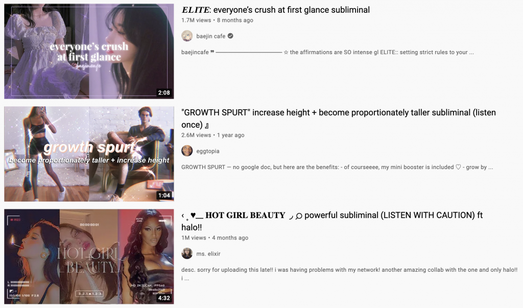 Subliminal search results on YouTube